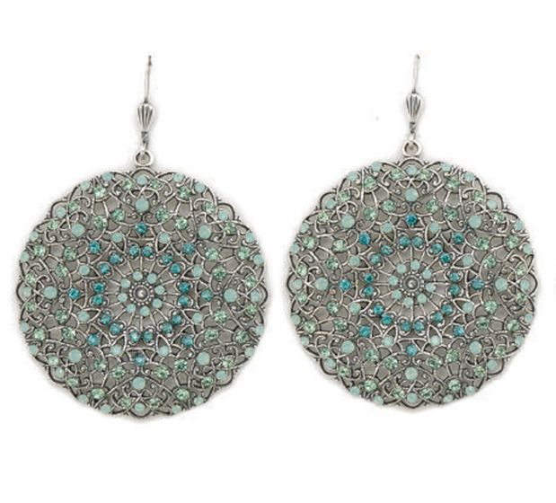 Catherine Popesco Large Lacy Pacific Opal and Silver Round Earrings