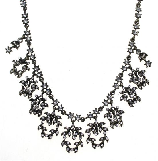 Antique Bronze Clear Crystal Flowers Necklace by Sweet Lola