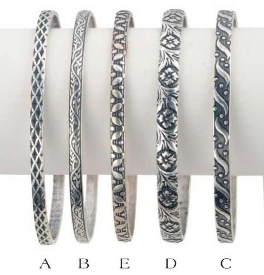 Catherine Popesco Sterling Silver Plated Stamped Bangles - Five Designs