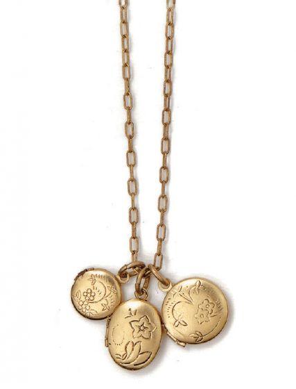 Catherine Popesco La Vie Gold Triple Locket Necklace