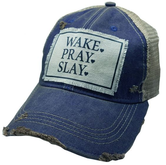 """Wake, Pray, Slay"" Women's Trucker Baseball Cap Blue & White Distressed Hat"