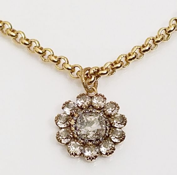 Catherine Popesco Shade & Gold Round Crystal Pendant Necklace