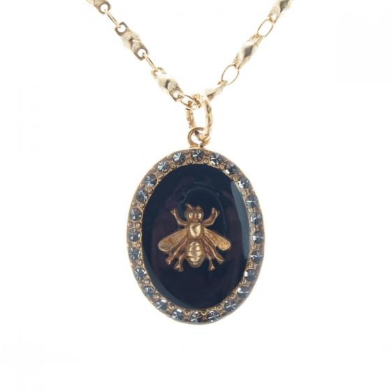Catherine Popesco Black or White French Enamel Crystal Oval Bee Pendant Necklace