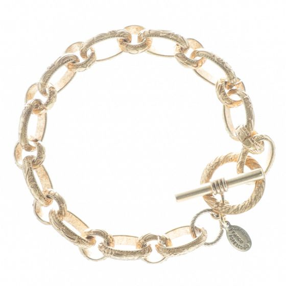 Catherine Popesco Bracelet - Stamped Oval Links in Brushed Gold or Silver