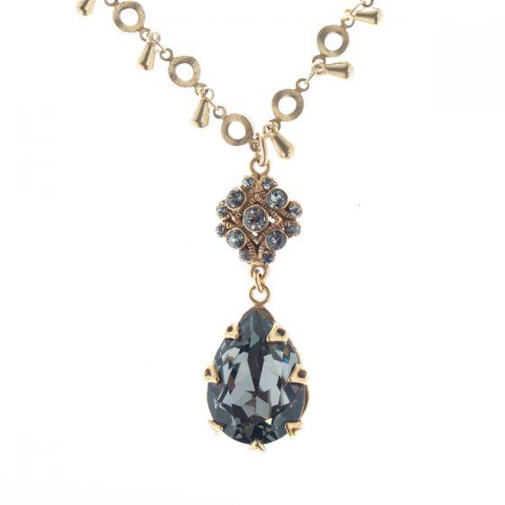 Catherine Popesco Fancy Crystal Teardrop Pendant Necklace - Black Diamond