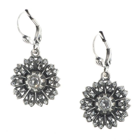 Catherine Popesco Flutter Flower Rhinestone Earrings - Silver