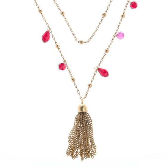 "Catherine Popesco 42"" Gold Tassel Crystal Bead Necklace - Assorted Colors"