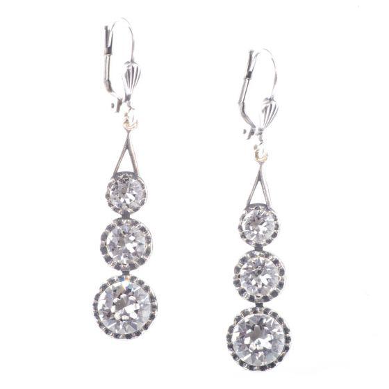 Catherine Popesco Three Stone Crystal Earrings - Black Diamond & Silver