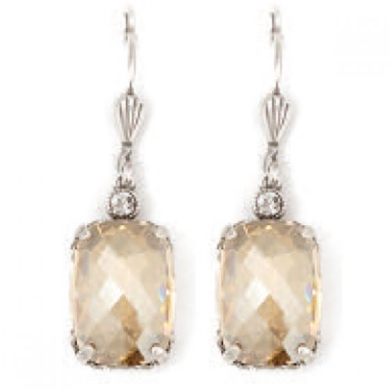 Catherine Popesco Pillow Cut Crystal Earrings - Champagne and Silver