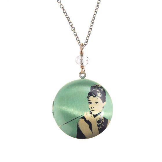 Edgy Petal Audrey Hepburn Breakfast at Tiffany's Crystal Locket Necklace - Long or Short