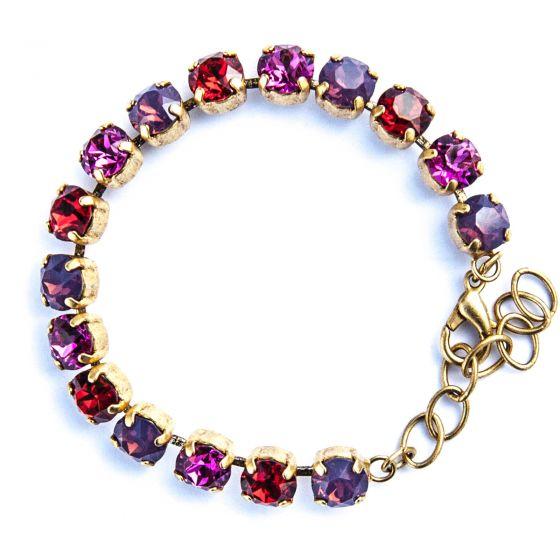 Catherine Popesco Multi Color Crystal Bracelet - Red, Fuchsia, Lavender