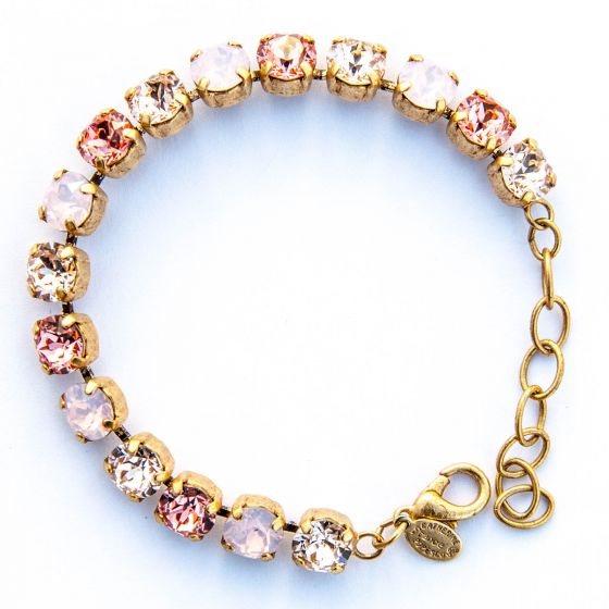 Catherine Popesco Multi Color Crystal Bracelet - Rosewater Pink in Gold