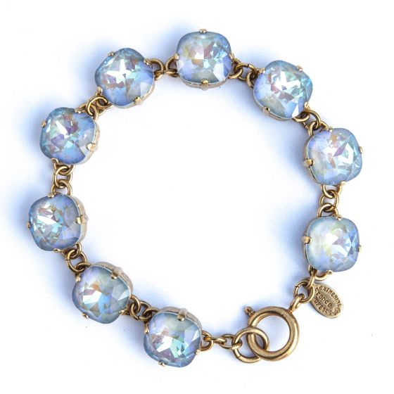 Large Stone Crystal Bracelet - Ultra Arctic and Gold - Catherine Popesco