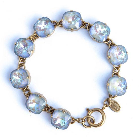 Large Stone Crystal Bracelet - Ultra Arctic and Gold - Catherine Popesco