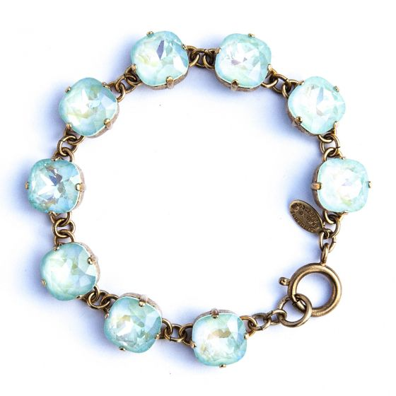 Large Stone Crystal Bracelet - Ultra Mint and Gold - Catherine Popesco