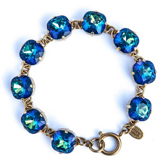 Large Stone Crystal Bracelet - Ultra Sky and Gold - Catherine Popesco