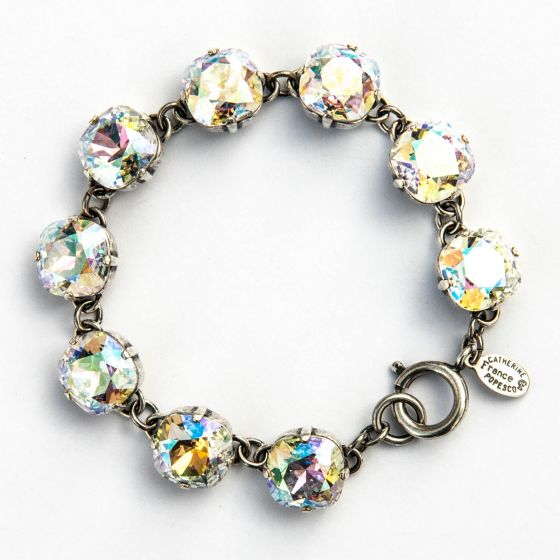 Large Stone Crystal Bracelet - Crystal AB and Silver - Catherine Popesco