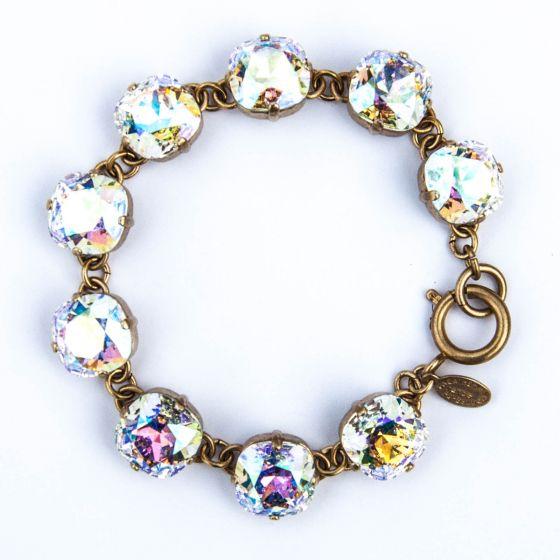 Large Stone Crystal Bracelet - Crystal AB and Gold - Catherine Popesco