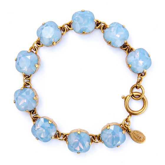 Large Stone Crystal Bracelet - Air Blue and Gold - Catherine Popesco