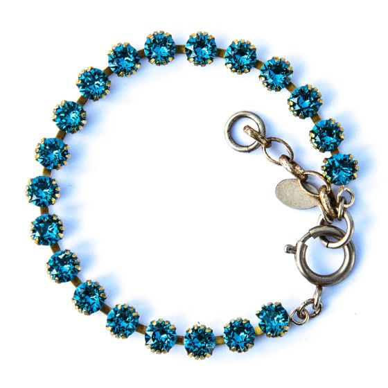 Catherine Popesco Small Stone Crystal Bracelet - Teal and Gold