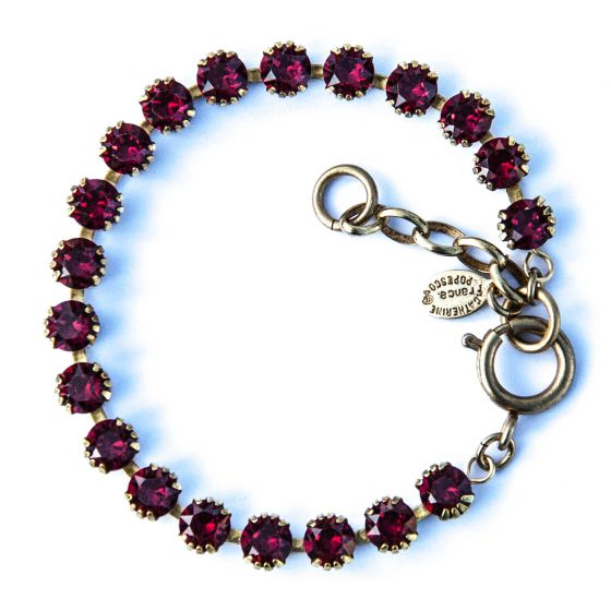 Catherine Popesco Small Stone Crystal Bracelet - Red Siam and Gold