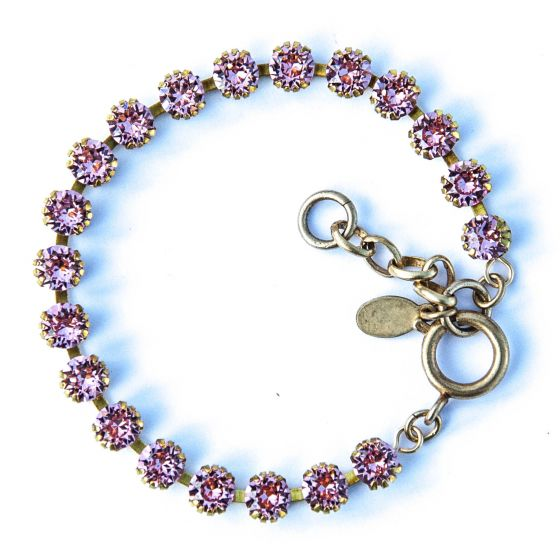 Catherine Popesco Small Stone Crystal Bracelet - Rose Pink and Gold