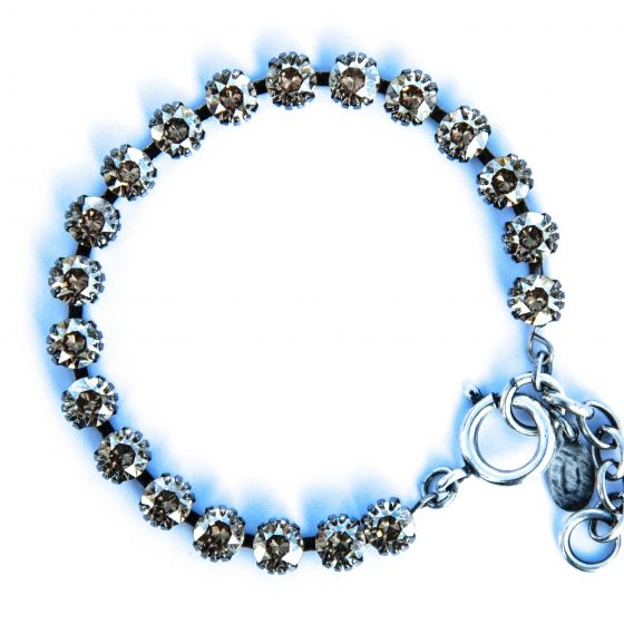 Catherine Popesco Small Stone Crystal Bracelet - Champagne and Silver