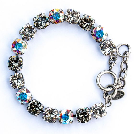Catherine Popesco Multi Color Crystal Bracelet - Black Diamond, AB and Silver