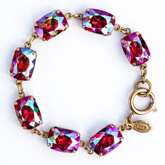 Catherine Popesco Pillow Cut Crystal Bracelet - Hot Pink Fuchsia AB