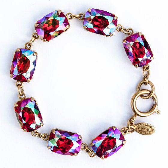 Catherine Popesco Pillow Cut Crystal Bracelet - Hot Pink Fuchsia AB