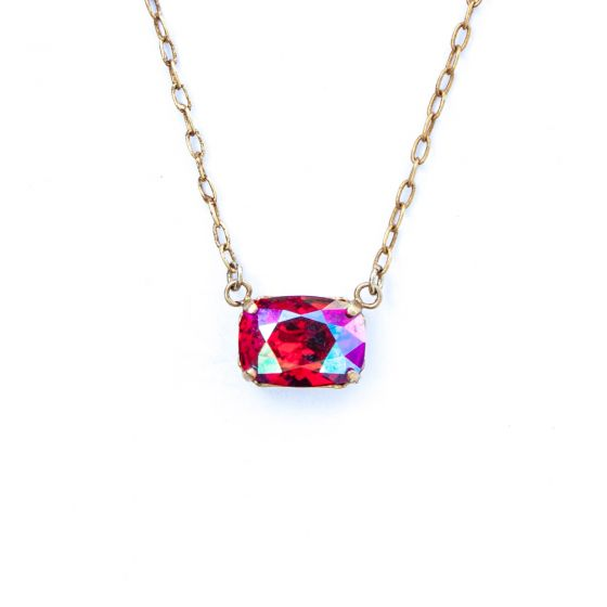Catherine Popesco Pillow Cut Crystal Necklace - Hot Pink Fuchsia AB