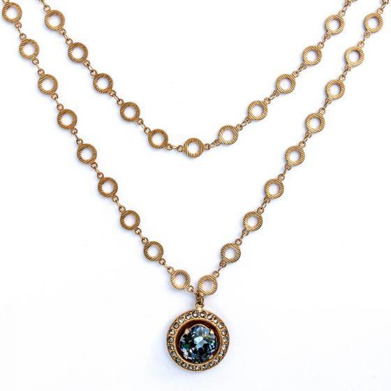 "Catherine Popesco Round Crystal Frame Gold Pendant Necklace - 42"" Long"