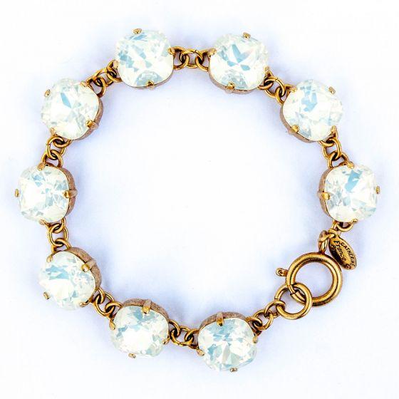 Catherine Popesco Large Stone Crystal Bracelet - White Opal and Gold