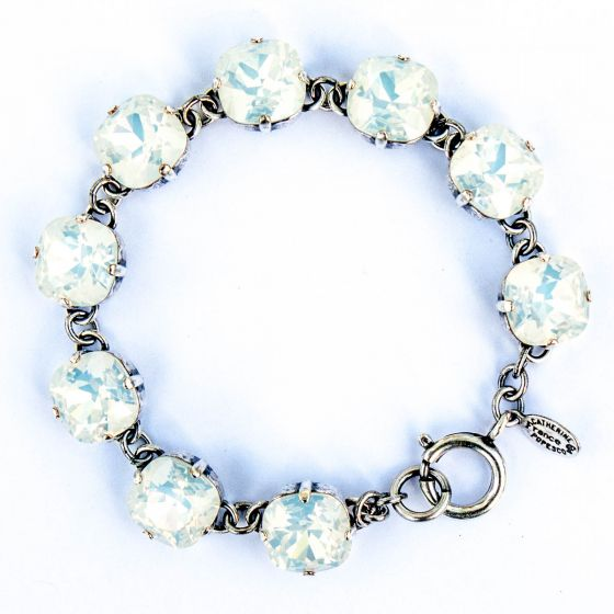 Catherine Popesco Large Stone Crystal Bracelet - White Opal and Silver