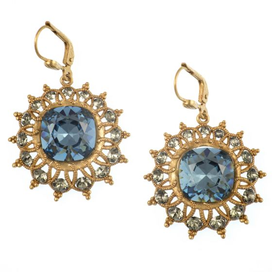 Catherine Popesco Starburst Crystal Earrings in Midnight Blue and Gold