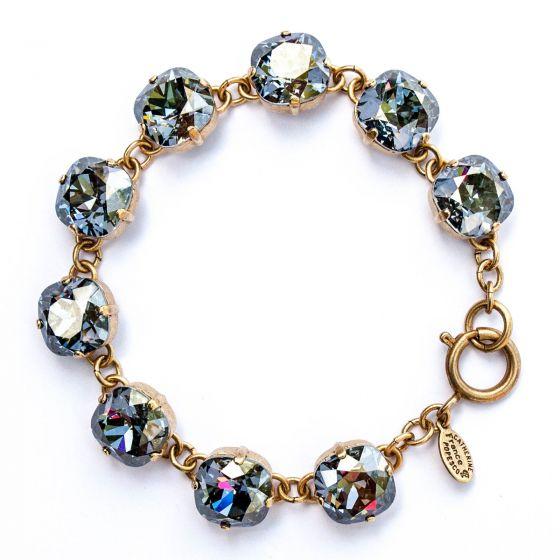 Catherine Popesco Large Stone Crystal Bracelet - Blue Shade and Gold