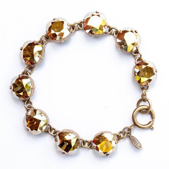 Catherine Popesco Large Stone Crystal Bracelet - Metallic Sunshine and Gold