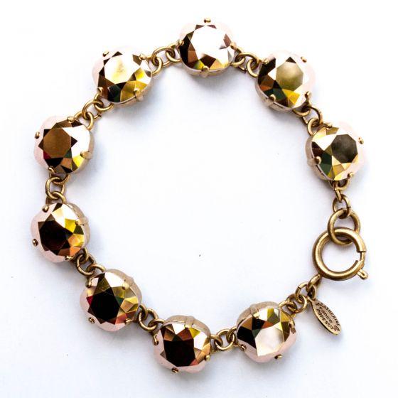 Catherine Popesco Large Stone Crystal Bracelet - Rosegold and Gold