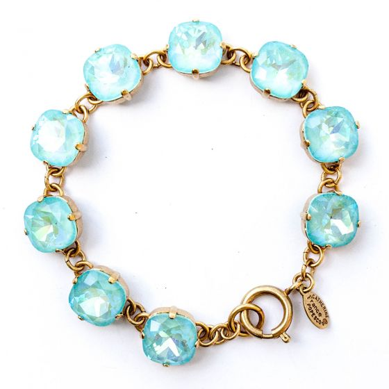 Catherine Popesco Large Stone Crystal Bracelet - Blue Lagoon and Gold