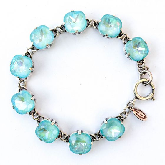 Catherine Popesco Large Stone Crystal Bracelet - Blue Lagoon and Silver