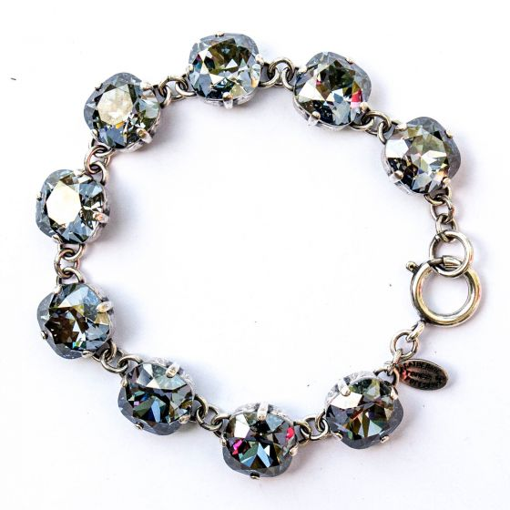 Catherine Popesco Large Stone Crystal Bracelet - Blue Shade and Silver