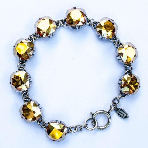Catherine Popesco Large Stone Crystal Bracelet - Metallic Sunshine and Silver