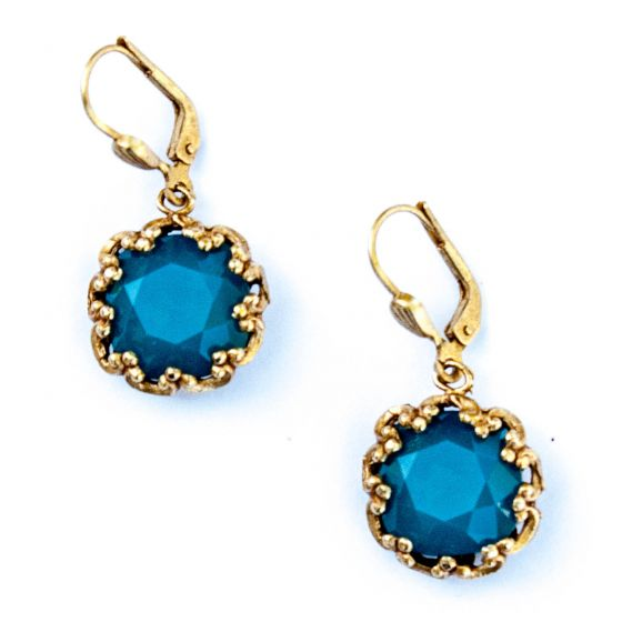 Catherine Popesco Fancy Large Stone Round Earrings - Assorted Colors in Gold or Silver