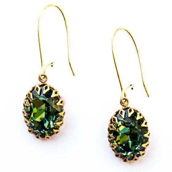 Catherine Popesco Oval Crystal Long Drop Hoop Earrings - Assorted Colors