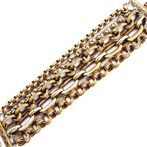Catherine Popesco Large Multi Chain Gold Bracelet