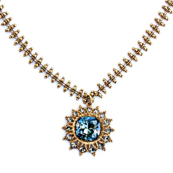 Catherine Popesco Crystal Starburst Necklace in Midnight Blue and Gold