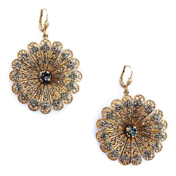 Catherine Popesco Large Black Diamond Filigree Flower Earrings