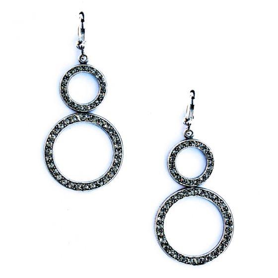 Catherine Popesco Black Diamond Double Circle Crystal Earrings