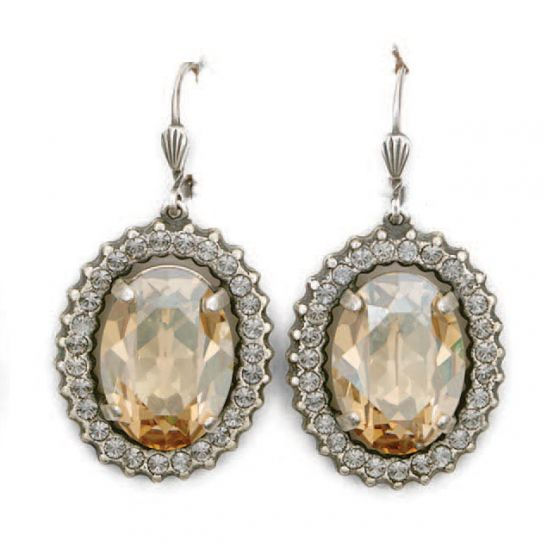 Oval Crystal Frame Earrings - Assorted Colors & Silver