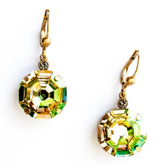 Catherine Popesco Jonquil Octagon Crystal Pendant Gold Earrings